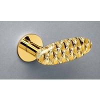 Olivari Crystal Diamond door handle on round rosette brass titanium PVD