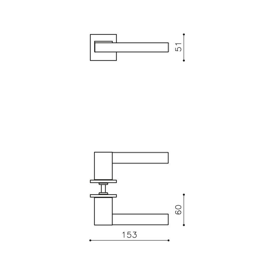 OLIVARI DOOR HANDLE ICE CUBE + SQUARE SPRING ROSE 51X5MM CHROME / TRANSPARENT