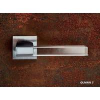 Olivari deurkruk Ice Cube op vierkant rozet chroom mat transparant