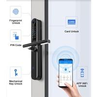 Intelligent door handle D31 on black narrow shield with finger scan