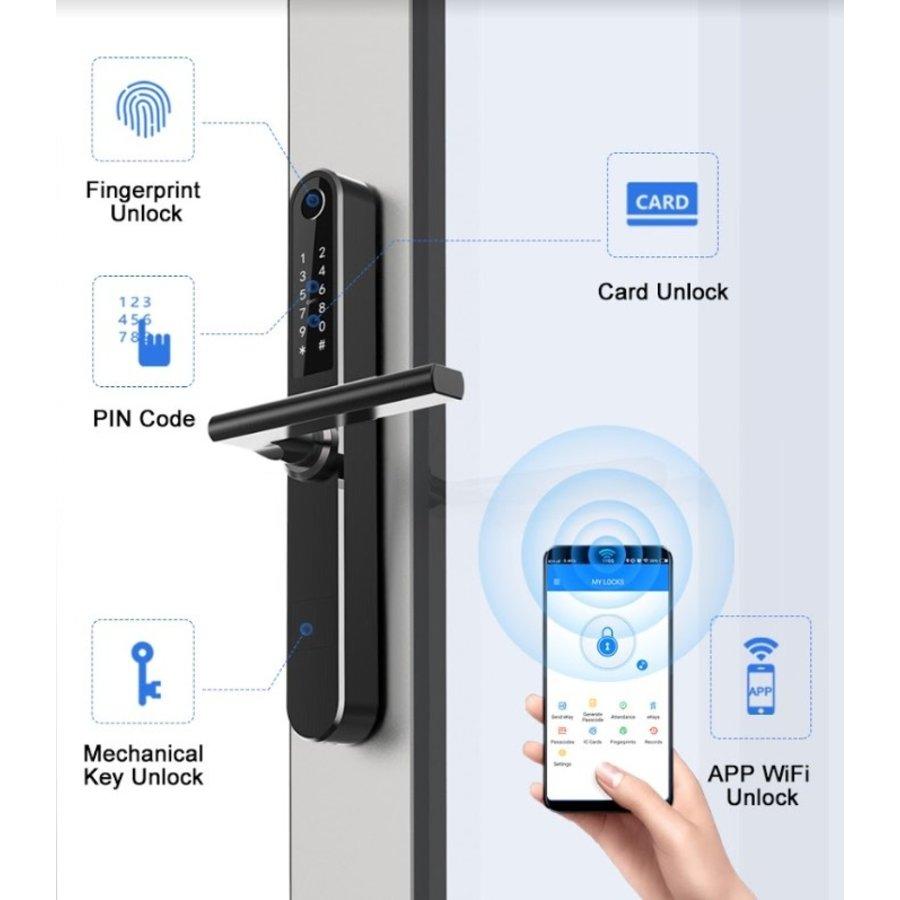 Intelligente deurklink D33B met vingerscan op zwart smalschild