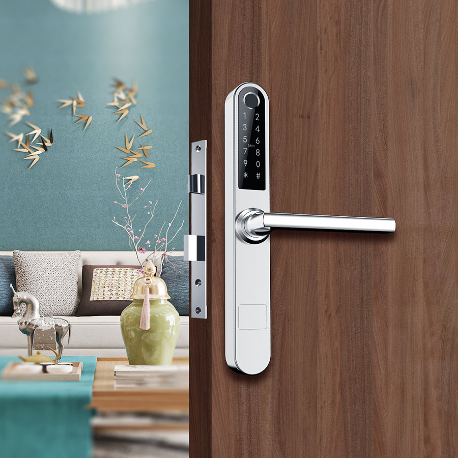 Intelligent door handle D31 on silver narrow shield with finger scan
