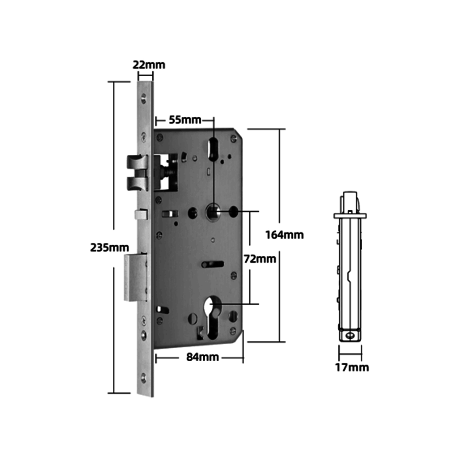 Intelligent door handle D31 on gray narrow shield with finger scan