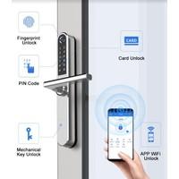 Intelligente deurklink D31 op grijs smalschild met vingerscan