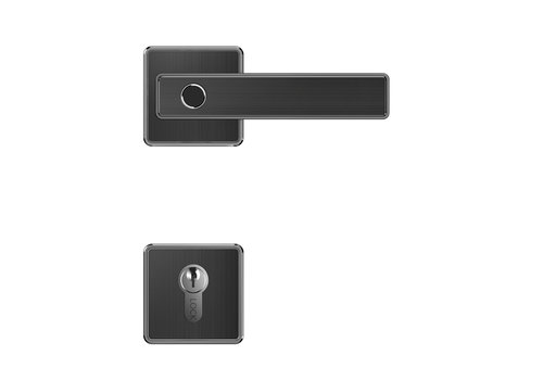 Smart door handle D21 black on square rosette and cylinder plates