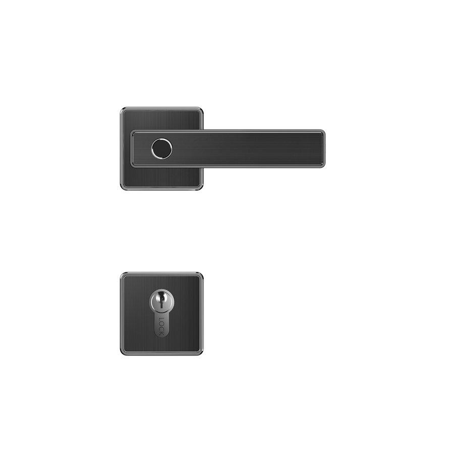 Intelligente deurkruk D21 zwart op vierkant rozet met vingerscan