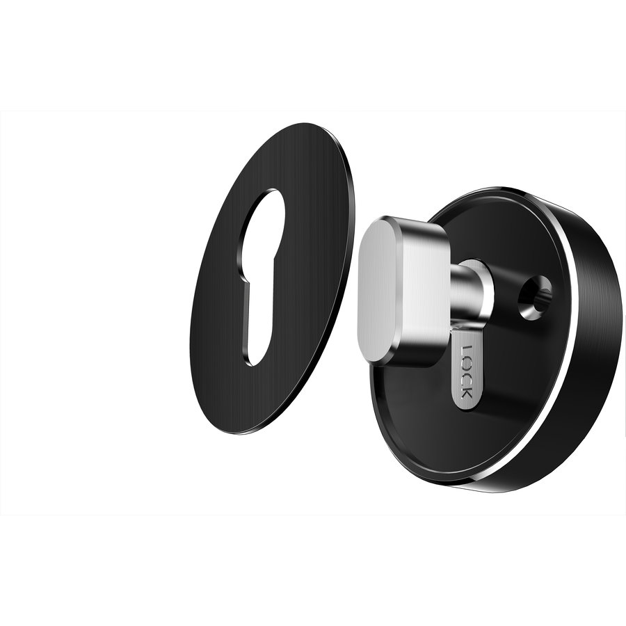 Intelligent door handle D21 black on round rosette with cylinder plates and finger scan