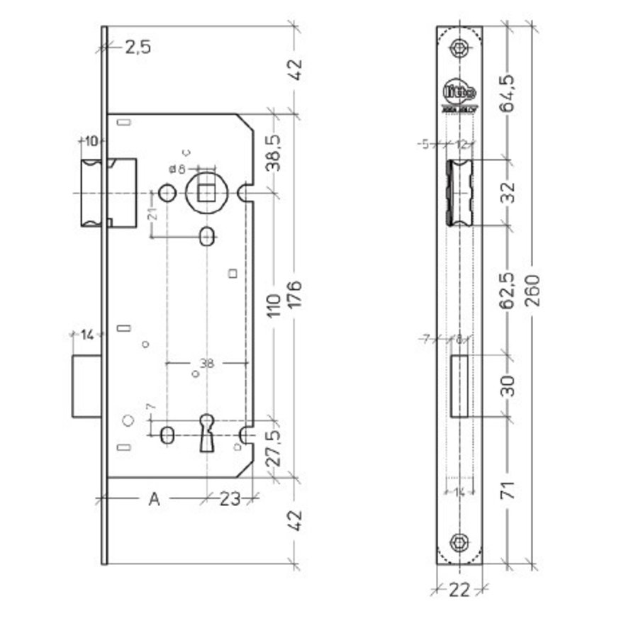 Litto klavierslot asmaat 110mm / doorn 40mm, Zwart met afgeronde voorplaat 260x22mm