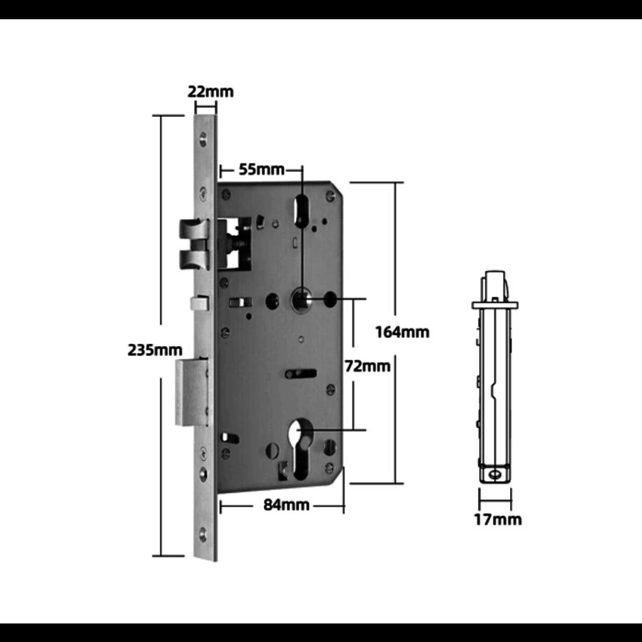 Intelligente deurklink D33B op zwart smalschild voor binnen en buiten