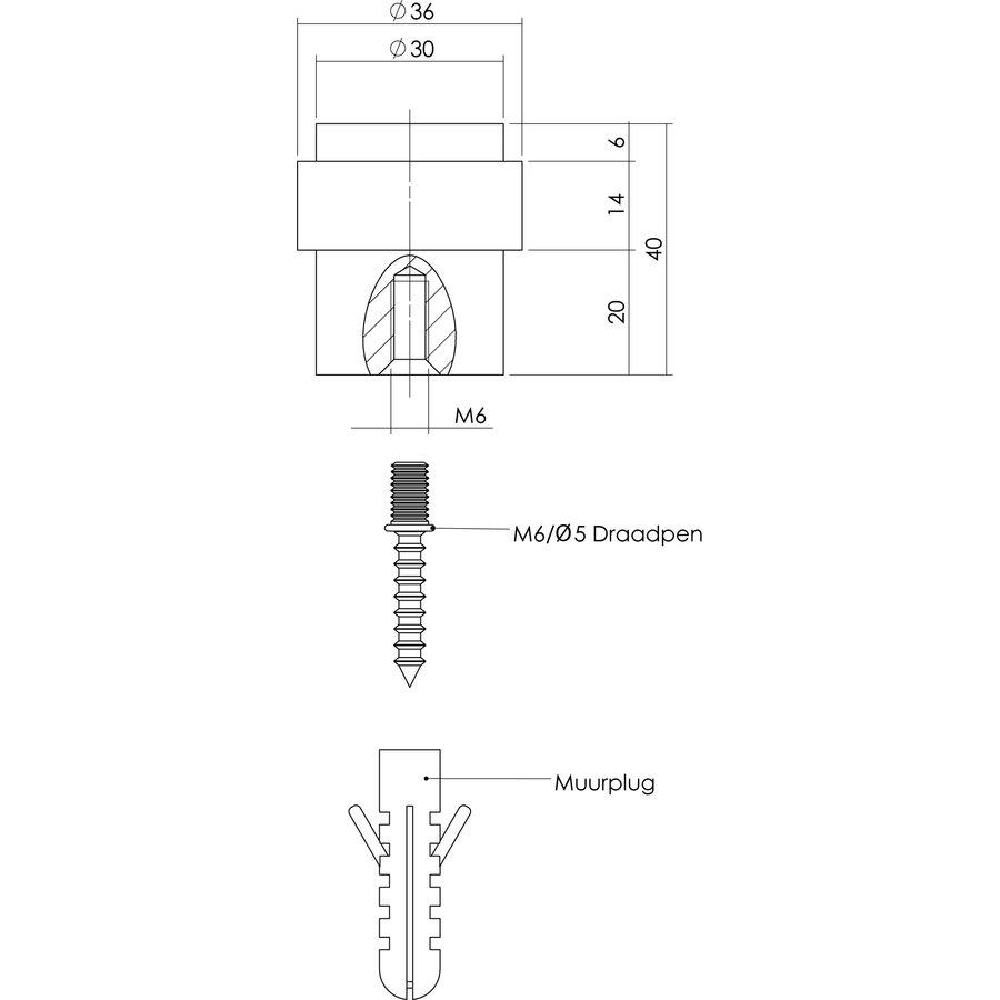 Deurstop vloermontage Ø 30x40mm RVS