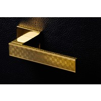 Olivari Diana Damier door handle + square rosette 51x5mm with lugs and continuous mounting Brass titanium PVD