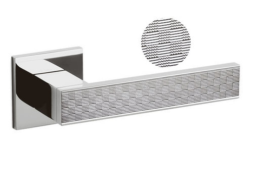Olivari Diana Damier door handle + square spring rosette Chrome