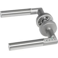 Intelligente deurkrukken (linkshandig) met ingebouwde codeklavier op ronde rozetten