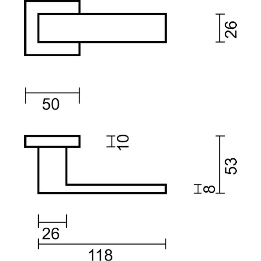 Antracietgrijze deurklinken Cubica met cilinderplaatjes