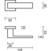 Antracietkleurige deurklinken Cubica Carbon Black met sleutelplaatjes