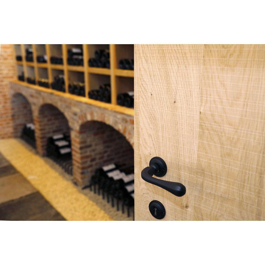 Zwarte deurklinken Gretana met ciinderplaatjes