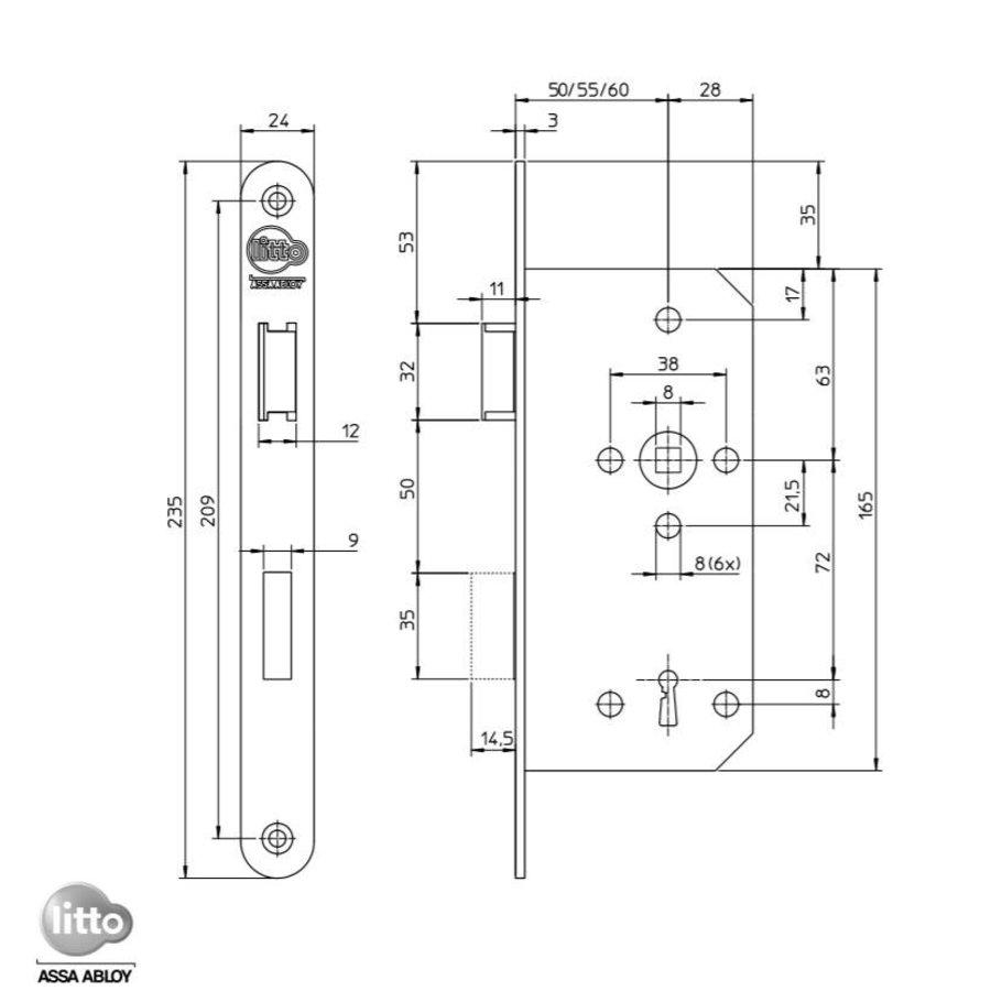 Litto project klavierslot E6 - asmaat 72mm - doorn 55mm - afgeronde voorplaat 235x24mm