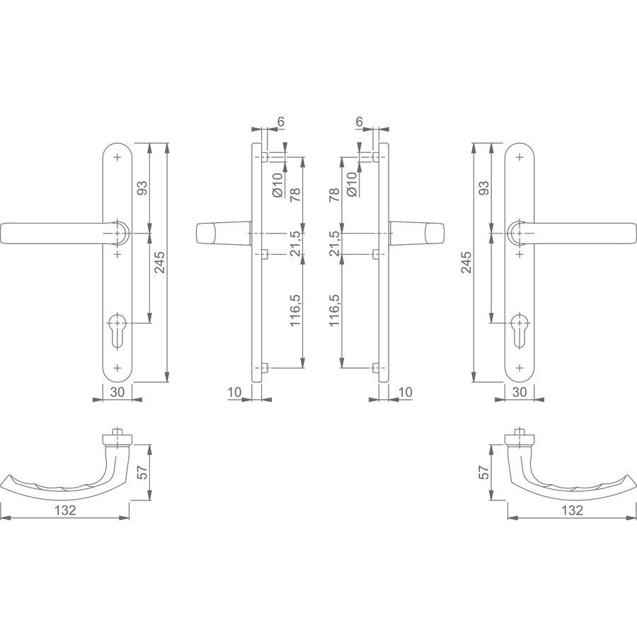 Hoppe smalschildgarnituur Liège zwart greep + greep voor profieldeuren - PC 92mm