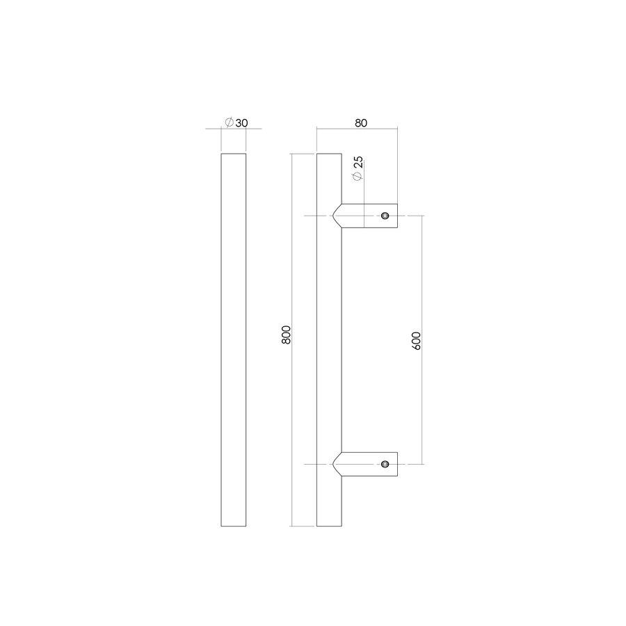 RVS Deurgreep T-vorm 30x600x800mm éénzijdige montage