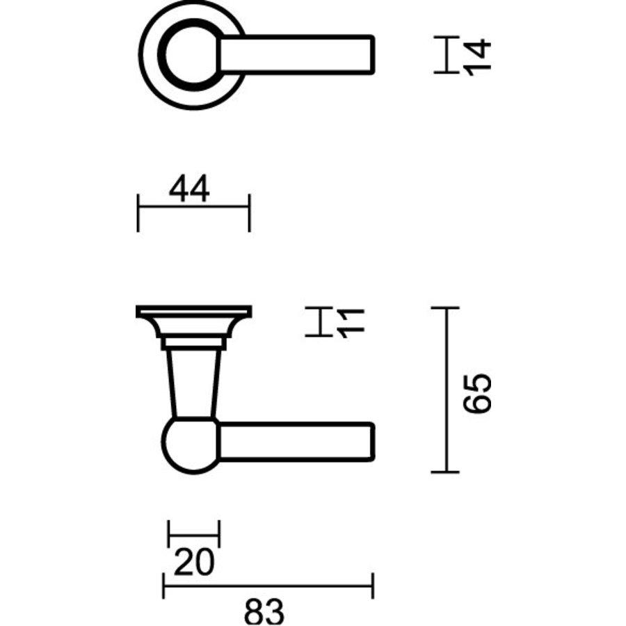 Türgriff Petra mit L + L Kombination in Altmessing + WC