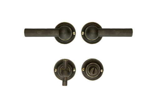 Old Brass door handles Petra L + L with toilet fittings
