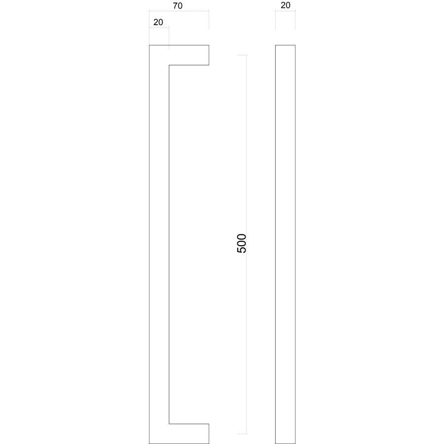 Stainless steel door handle Cubica 20/500 pair for door thickness> 3 cm