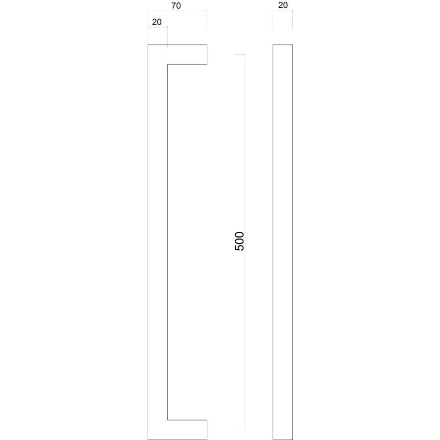 Stainless steel door handles Cubica 20/500 pair for glass