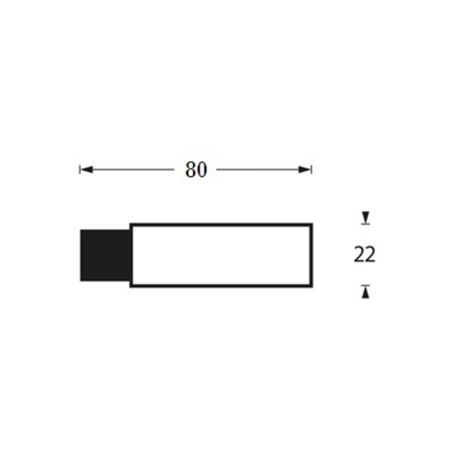 Intersteel Deurstop wandmontage Ø22x80mm zwart