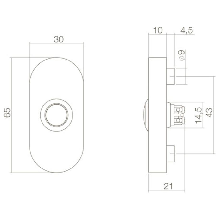 Intersteel Türklingel oval verdeckt 65x30x10 Edelstahl / mattschwarz