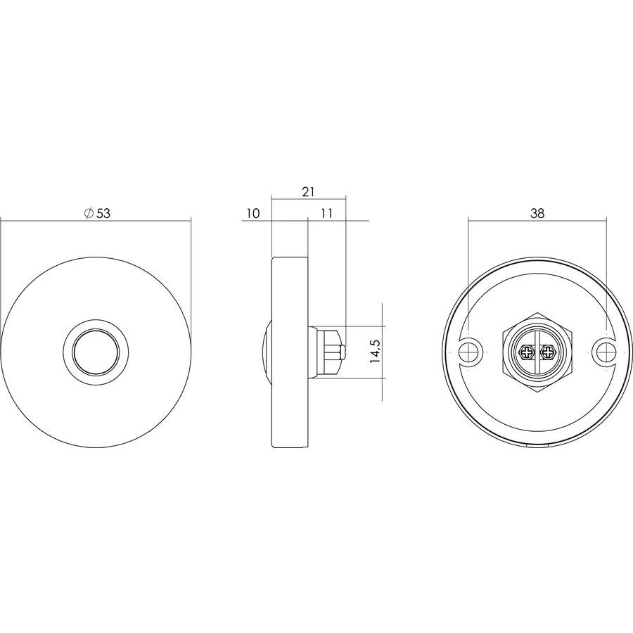 Intersteel Doorbell round concealed ø53x10 stainless steel / matte black