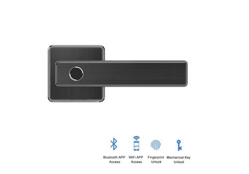 Poignée de porte intelligente D20 noire sur rosace carrée