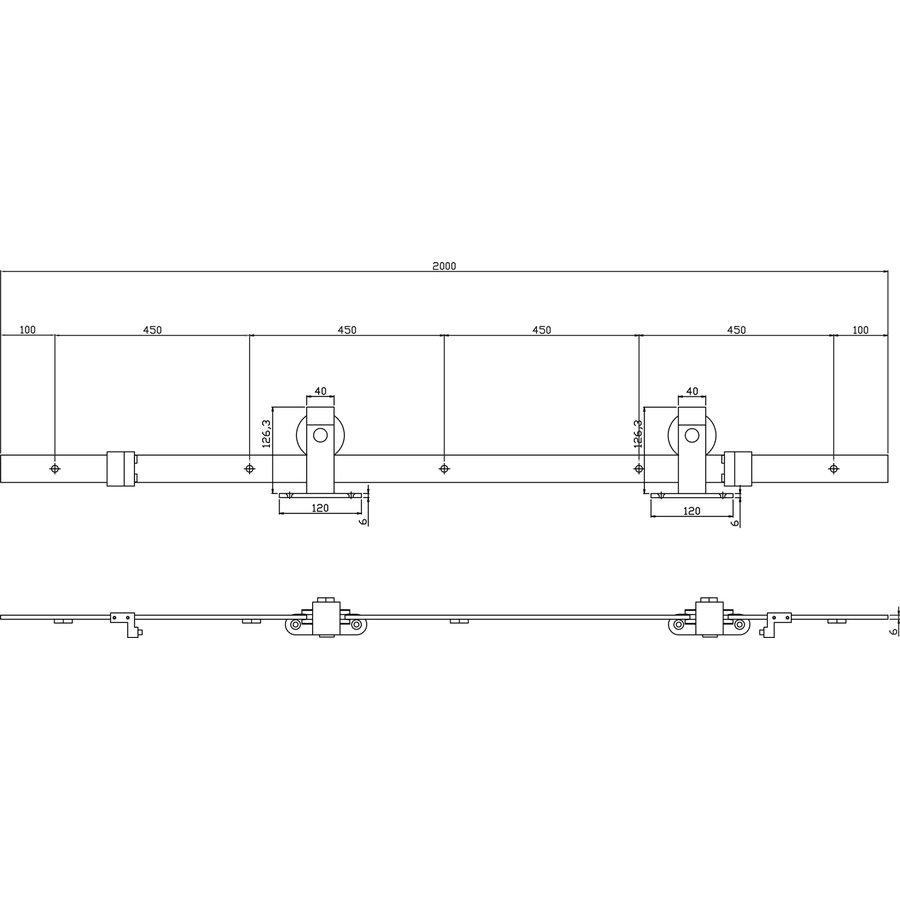 Schuifdeursysteem 2 meter, Basic bovenzijde mat zwart