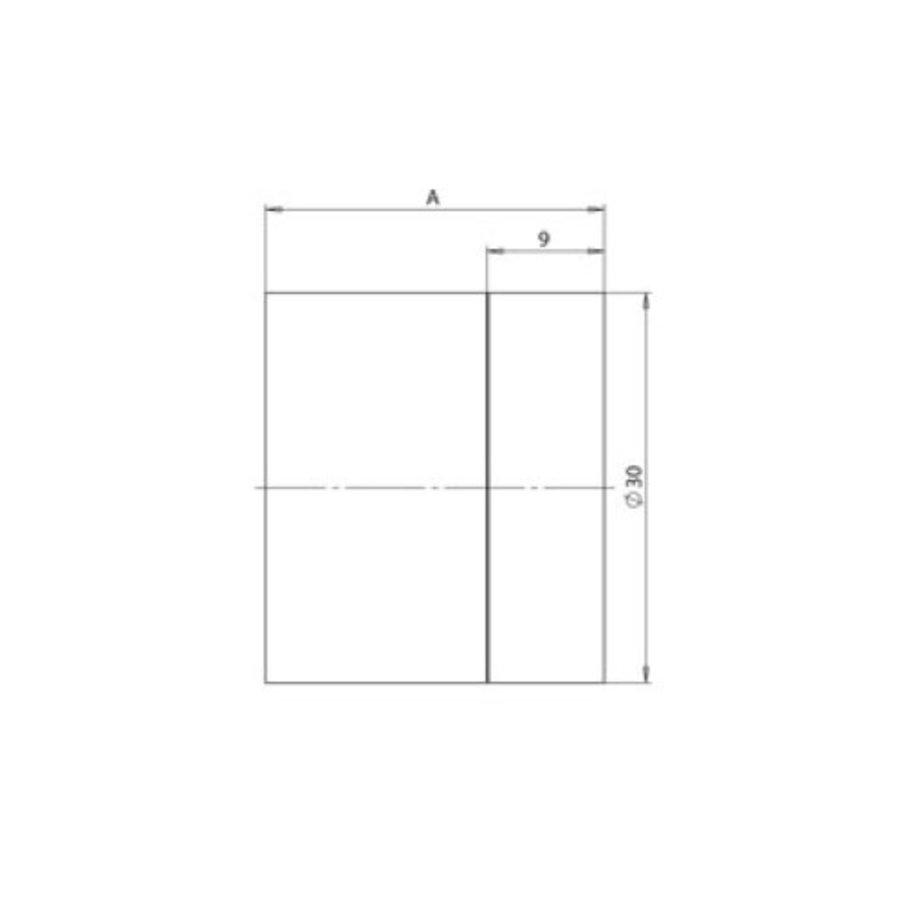 Zylindrischer Wandtürstopper aus Edelstahl 30x100mm
