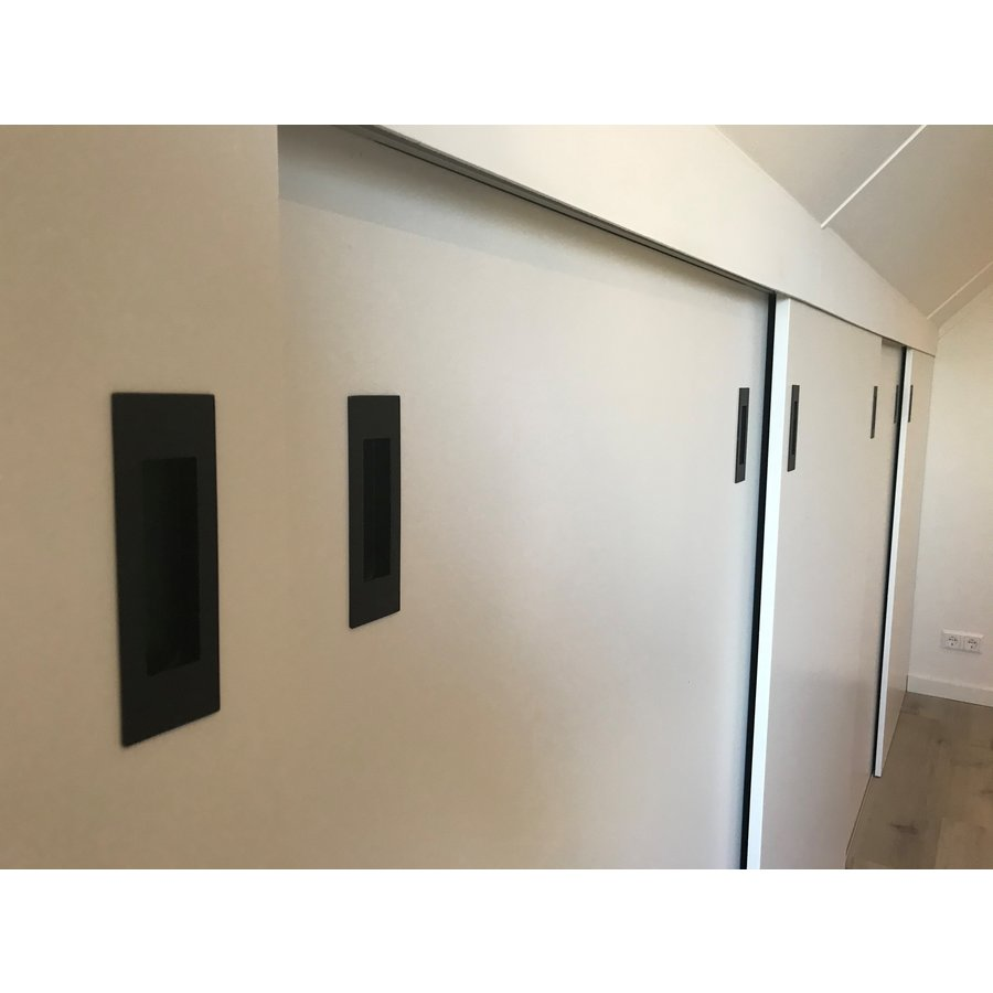 Rectangular sliding door bowl with matt black structured lacquer