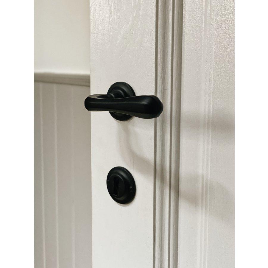 Zwarte deurklinken Gretana met sleutelplaatjes