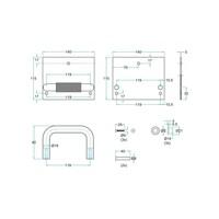 RVS Voetopener voor centrale WC deuren