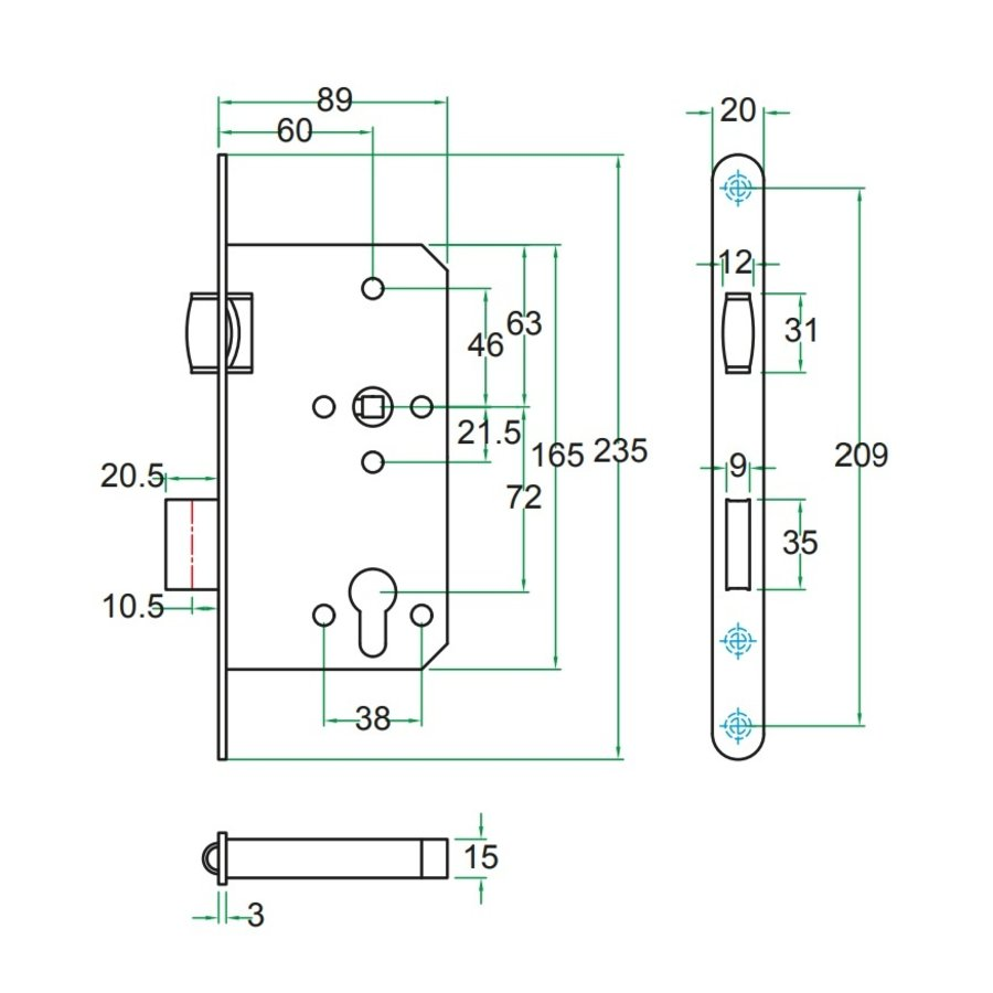 Insteek projectslot RVS Tonrolslot Klasse 3 PC72 mm