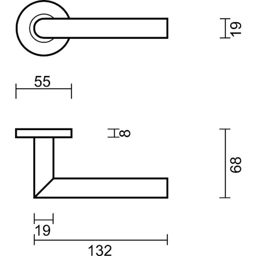 Deurklinken Eco I shape 19 mm met cilinderplaatjes