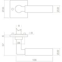 Chrome deurklinken Bau-Stil zonder sleutelplaatjes