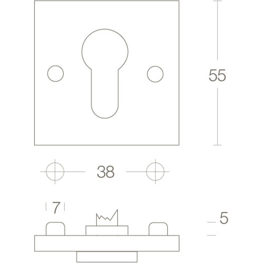 1 Cilinderplaatje vierkant Chroom