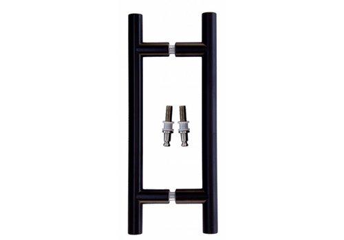 Paire de poignées de porte noires T 20/200/300 pour verre