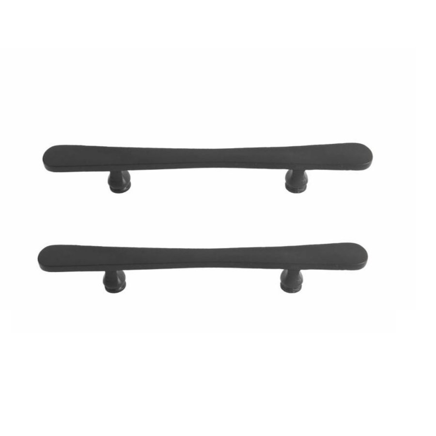 Paar zwarte deurgrepen PMBU 200/358mm  verouderd ijzer zwart paar voor houten deur