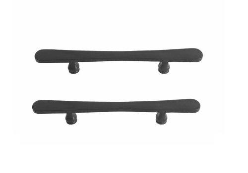 Poignées de porte noires PMBU 200 / 358mm paire fer noir vieilli pour portes vitrées