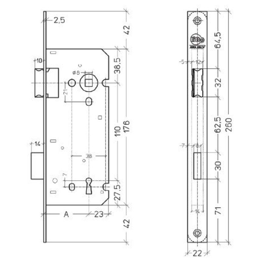 Litto baardslot asmaat 110mm / doorn 55mm, rechte voorplaat 260x22mm