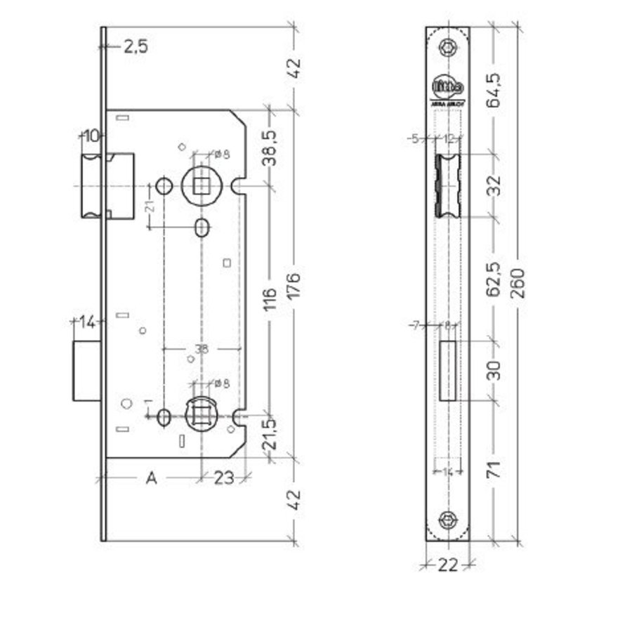 Litto WC-slot asmaat 116mm / doorn 45mm, RVS look met afgeronde voorplaat 260x22mm