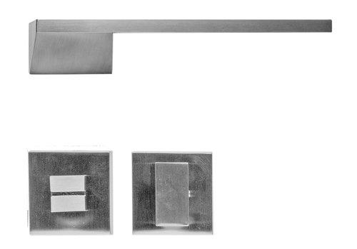 Poignée de porte Seliz aspect inox + WC