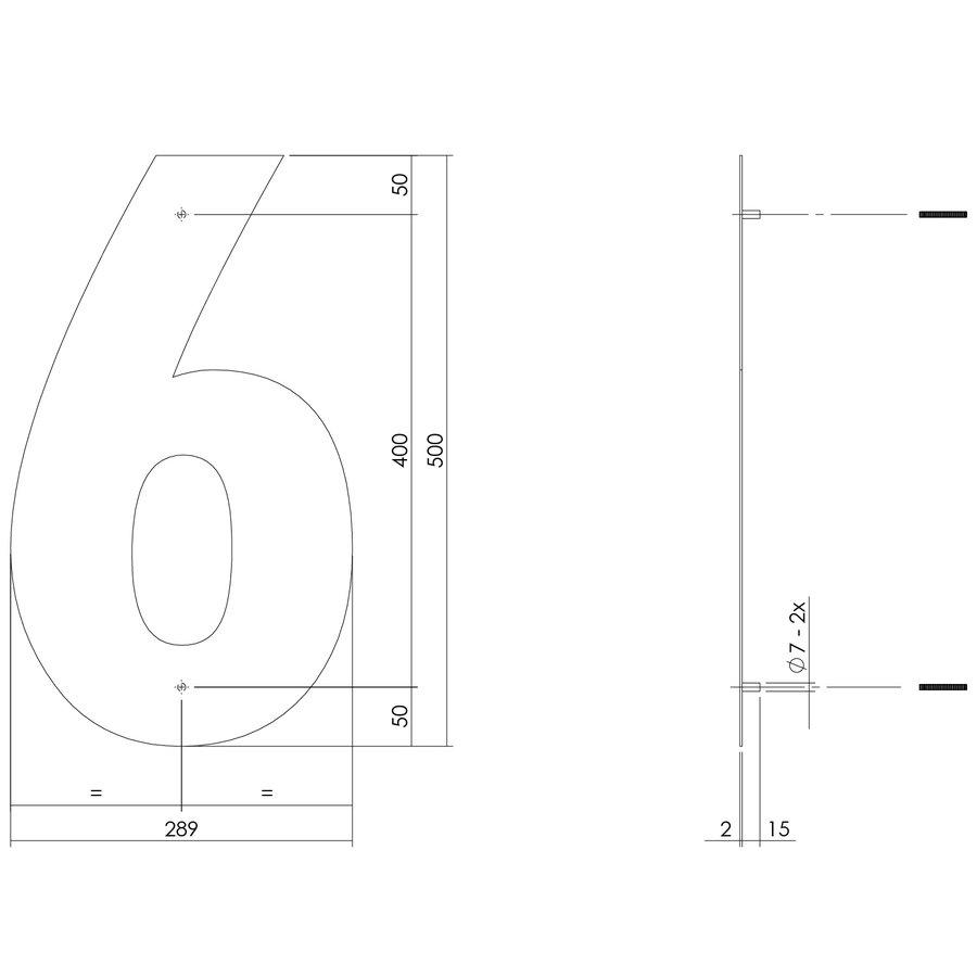 RVS huisnummer 6  met een hoogte van 500mm