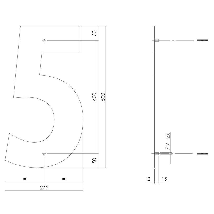 RVS huisnummer 5  met een hoogte van 500mm