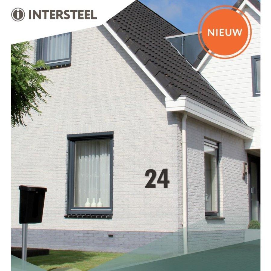 RVS huisnummer 4  met een hoogte van 500mm