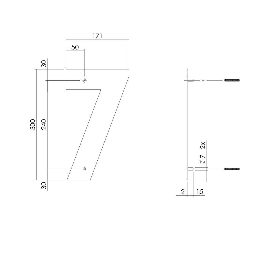 RVS huisnummer 7  met een hoogte van 300mm